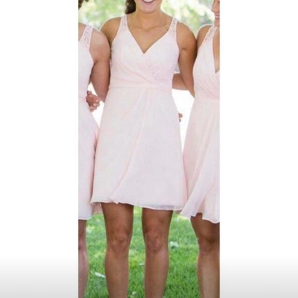 David s Bridal Dresses   Skirts - Short Chiffon V-Neck Dress with Lace Back e79455280